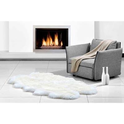 "Northland Supreme Ivory 4-pelt Longwool Sheepskin Shag Rug (4'x6') - 3'6"" x 5'7"""