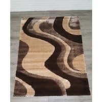 Casa Regina 3-D Design Abstract Waves Soft Shaggy Area Rug - 5'3 x 7'3