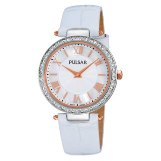 Pulsar Women's PM2127 Quartz Swarovski Stainless Steel White Leather Watch