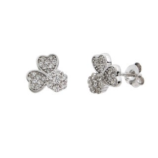 Eternally Haute Solid Sterling Silver Pave Lucky Classic Clover Earrings