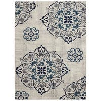 Jasmin Collection Navy Polypropylene Oriental Medallion Area Rug (5'3 x 7'3)