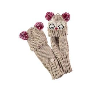 Rockin Baby Girl's Stone Colored Owl Applique Fold Over Glove