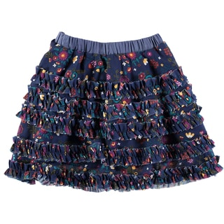 Rockin Baby Girl's Floral Print Navy Cotton, Rayon Layered Skirt