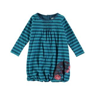 Rockin' Baby Girl's Stripe Bubble Hem Dress (Teal)