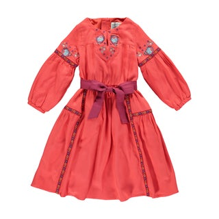 Rockin Baby Girl's Red Cotton Blend Embroidered Peasant Dress