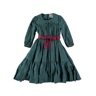 Rockin Baby Girls' Teal Cotton-blend Ditsy Print Gathered Dress