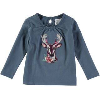 Rockin Baby Girl's Teal Deer Applique Cotton T-shirt