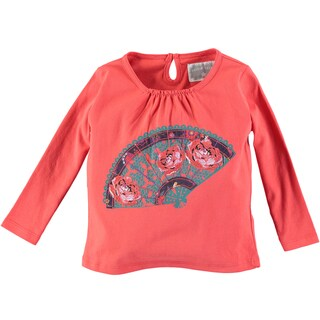 Rockin Baby Girl's Red Fan Embroidered Tee