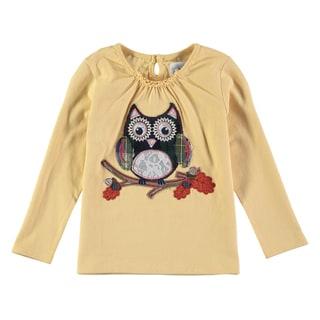 Rockin Baby Girl's Cream Owl Applique Tee