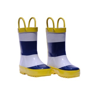 Rockin' Baby Boys' Stripe Wellie Navy Blue Rubber Boots