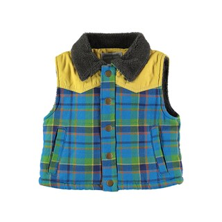 Rockin' Baby Boys' Blue Checked Gillet Jacket
