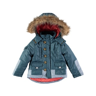 Rockin Baby Boys' Blue Fur Collar Coat