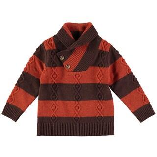 Rockin Baby Boy's High Brown Neck Stripe Jumper Jacket