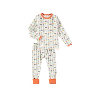Rockin Baby Boy's Bug Print White Cotton Pajama Set