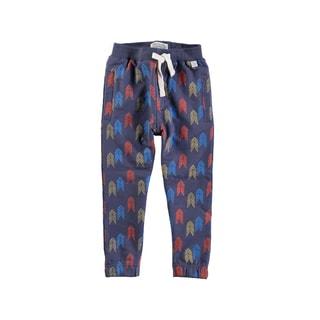 Rockin Baby Boys' Blue Cotton Blend Chevron Print Sweat Pants