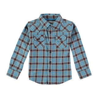 Rockin Baby Boy's Blue Brushed Check Shirt