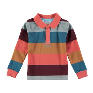 Rockin Baby Boys' Multicolor Cotton Iceland Stripe Rugby Shirt