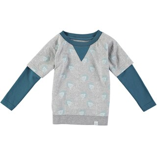 Rockin' Baby Boy's Wolf Print Moc Long Sleeve Tee (Grey/Blue)