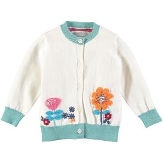 Rockin Baby Baby Girl White Flower Embroidered Cardigan