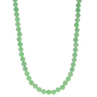 Gems For You Sterling Silver Jade Bead Strand Necklace