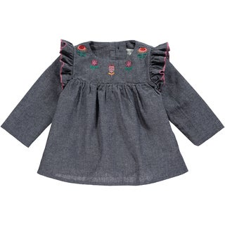 Rockin' Baby Girls' Rosalind Blue Cotton Chambray Embroidered Tunic