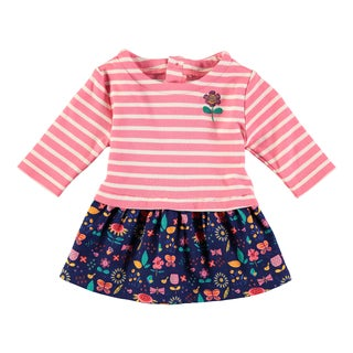 Rockin Baby Baby Girl Pink Jude Stripe And Floral Dress