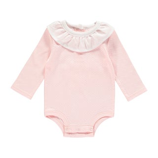 Rockin Baby Baby Girl Pale Pink Frill Collar Pointell Bodysuit