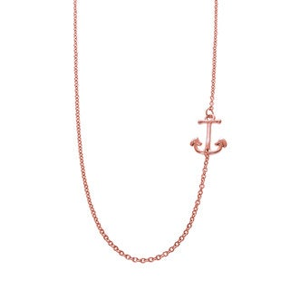 Eternally Haute 14k Rose Gold Brass Side Anchor Necklace