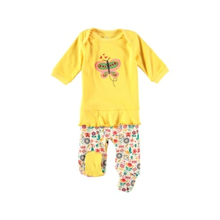 Rockin Baby Infant Girls' Yellow Cotton Butterfl-embroidered Footie Outfit