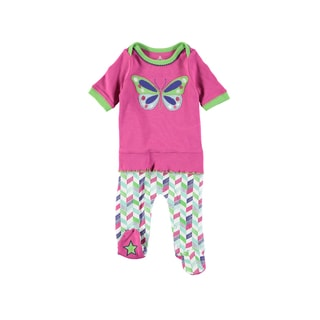Rockin Baby Baby Girl Pink Butterfly Applique Frill Footie