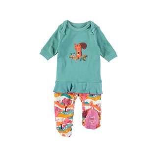 Rockin Baby Baby Girl Turquoise Squirrel Applique Frill Footie