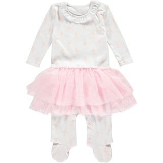 Rockin Baby Girls' White Cotton Ballerina Skirt Footie