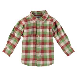 Rockin Baby Baby Boy Stone Grey Cotton Checked Shirt