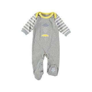 Rockin Baby Baby Boys' Grey Cotton Umbrella Applique Footie