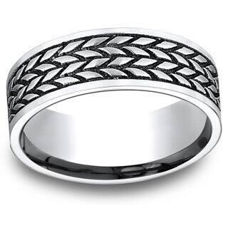 Men's 8mm White Cobalt Tire Tread Pattern Ring