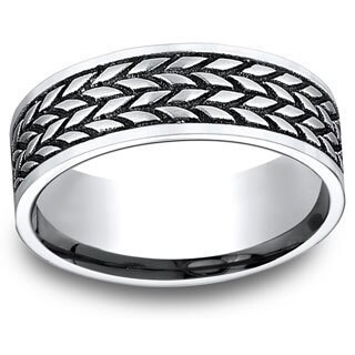 Men's 8mm White Cobalt Tire Tread Pattern Ring