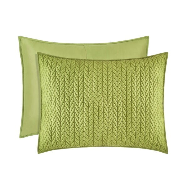 Five Queens Court Catori Moss Green Quilted Standard Sham