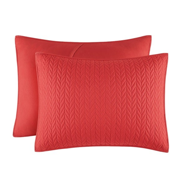 Five Queens Court Catori Tomato Red Quilted Standard Sham