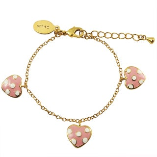 Luxiro Gold Finish Pink Enamel Dot Heart Children's Charm Bracelet