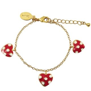 Luxiro Gold Finish Red Enamel Dot Heart Children's Charm Bracelet