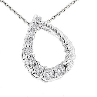 Luxurman 14k Gold 1/4ct TDW 9-stone Diamond Journey Necklace (H-I, SI1-SI2)