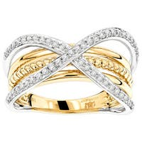 Luxurman Two-tone 14k Gold 1/2ct TDW Criss-cross Designer Diamond Ring