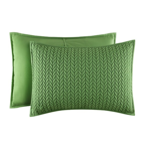 Five Queens Court Catori Kiwi Green Quilted Standard Sham