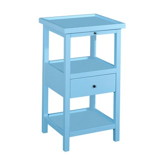 Powell Palmer Ocean Blue Wood Accent Table with Shelf