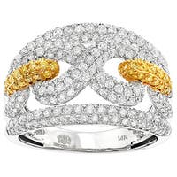 Luxurman 14k Gold 2ct TDW White and Yellow Diamond Infinity Cocktail Ring