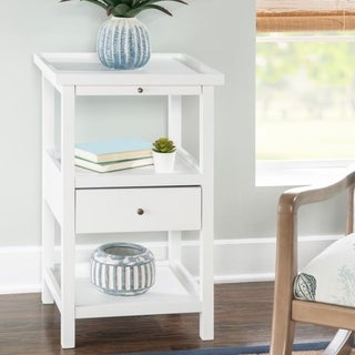 Powell Palmer White Wood Accent Table with Shelf