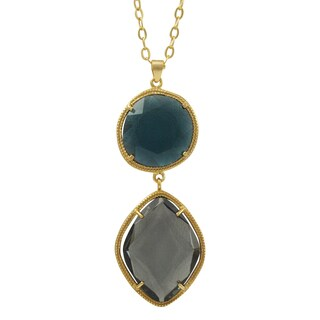 Luxiro Gold Finish Sterling Silver Multi-color Sliced Glass Pendant Necklace