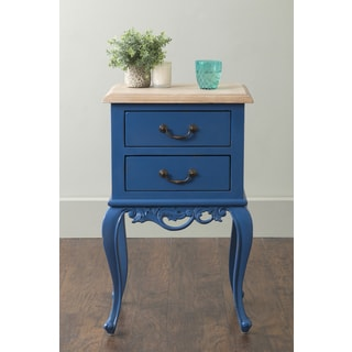 East At Main's Herrin Blue Square Traditional Teakwood Accent Table