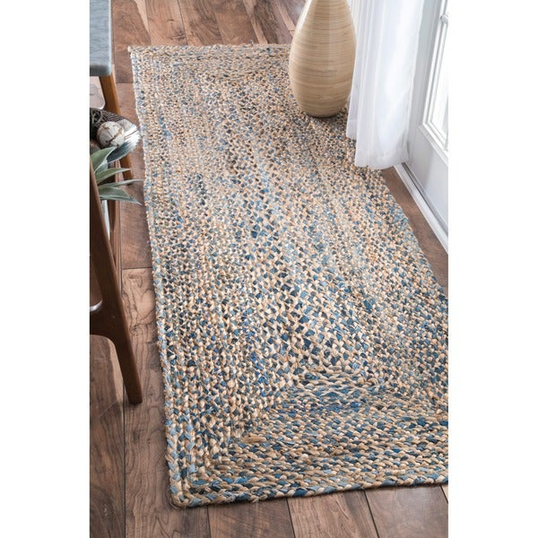 nuloom handmade braided natural fiber jute runner rug 2 39 6 x 8 39 free shipping today. Black Bedroom Furniture Sets. Home Design Ideas
