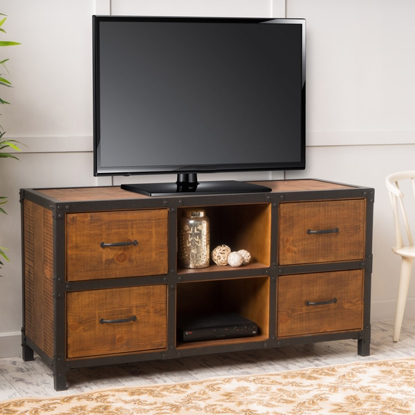 shop jossie natural stained wood tv stand by christopher knight home on sale free shipping. Black Bedroom Furniture Sets. Home Design Ideas
